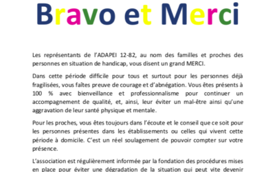 Lettre de l'ADAPEI 12-82  adressée au personnel de la Fondation OPTEO